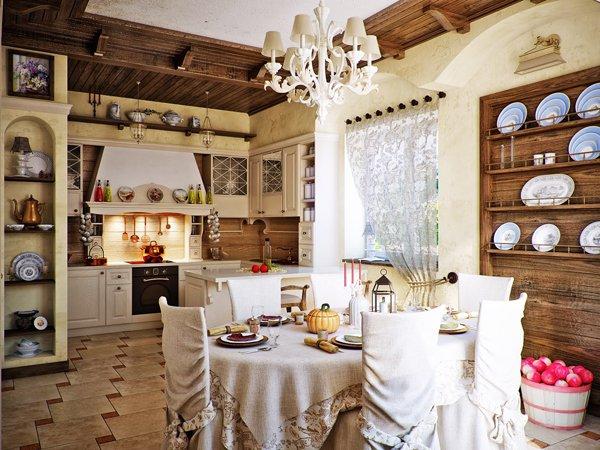 Интериорен дизайн на кухня в провинциален стил