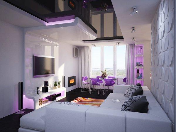 Стилен дизайн на дневна зона с лилави акценти
