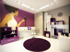 Кабинет – част от интериорен проект на апартамент с геометрични форми